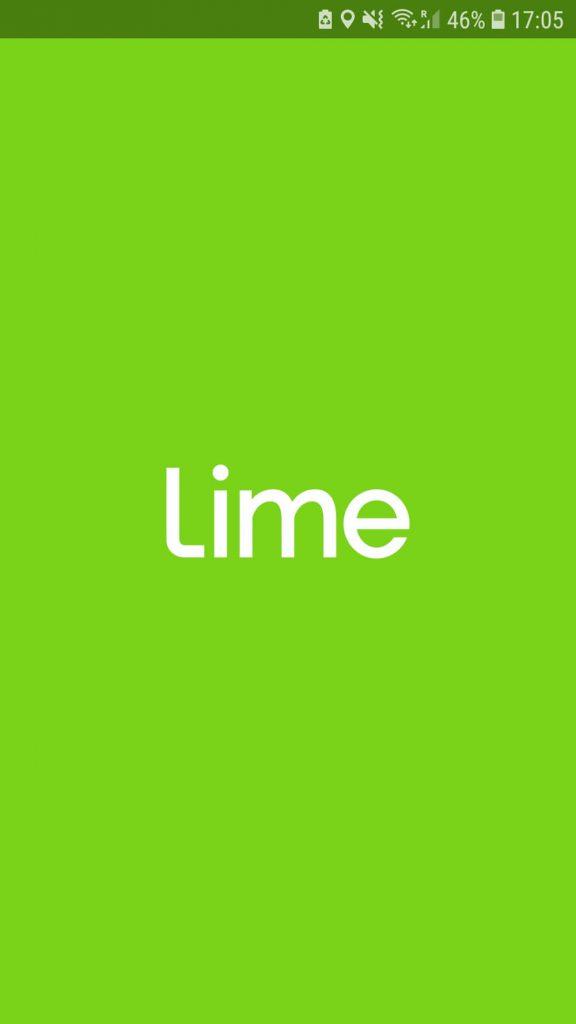 Startbildschirm der Lime App