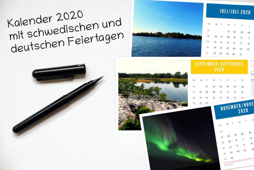 Kalender 2020 mit schwedischen und deutschen Feiertagen - Vorschau